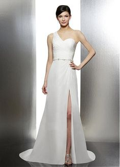 SIMPLE CHIFFON SHEATH ONE SHOULDER NECKLINE RUCHED BODICE BEADED NATURAL WAIST SUMMER WEDDING DRESS