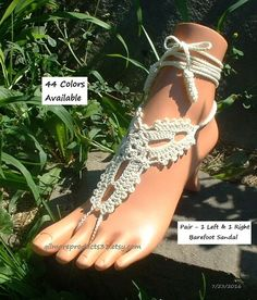 Want your wedding shoes to be topped off with the finest barefoot sandals that are #crochet like lace and worn like flat bridal shoes.  Then add these elite beach wedding sa... #etsy #gilmoreproducts33
