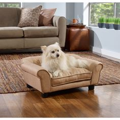 Our Sydney Tufted Sofa Bed is a truly luxurious way to snooze. Perfect for dogs who are treated like family - they deserve their own comfy place to lounge! Meet Rustan, a 10 pound Pomeranian, lounging