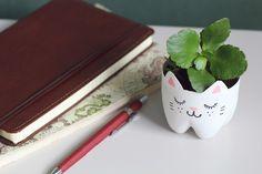 Como fazer vaso de gatinho com garrafa pet