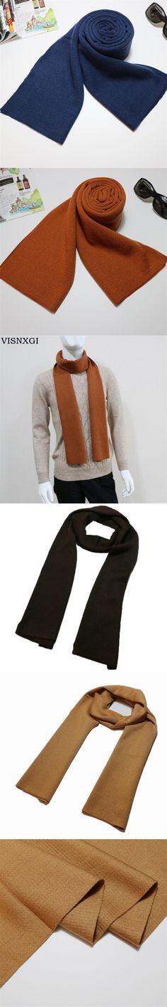 VISNXGI European Business Fashion Men Scarf Long Thick Warm Neckerchief Modal Shawl High-grade Solid Men Scarves Gifts For Men