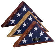 Urns Northwest  - Veteran Burial Flag Case, $109.00 (http://urnsnw.com/veteran-burial-flag-case/). Made in the USA.