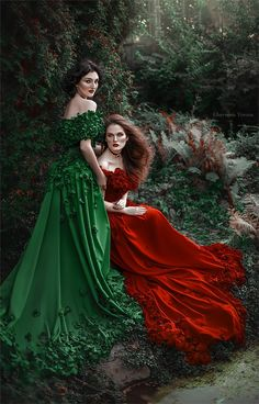 """Perfection"""" describes these amazing photo works of a young Ukrainian artist Chervona Vorona. She is a very talented photographer who really knows how to turn… Winter Bridesmaid Dresses, Winter Bridesmaids, Red Wedding Dresses, Lesbian Wedding Photography, Creative Fashion Photography, Fantasy Gowns, Fantasy Art, Woman Drawing, Jolie Photo"""