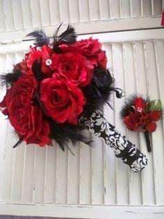 Wedding, Flowers, White, Red, Black