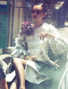 comme des garcons s/s 2012 rtw, liu wen by alexi lubomirski for vogue germany august 2012