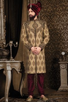 Samyakk Brown Silk Embroidered Sherwani