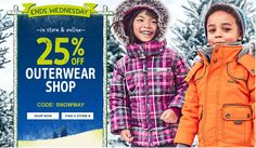 Carters OshKosh Canada Deals: Save 25% off  Outerwear with Promo Code  $10 Off $50  FREE Shipping with $75 Pu... http://www.lavahotdeals.com/ca/cheap/carters-oshkosh-canada-deals-save-25-outerwear-promo/131694