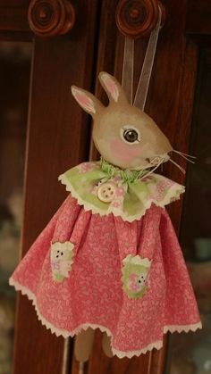 This just makes me smile! Handmade fabric Prim Folk Art Easter bunny by anotherlinda on Etsy, $18.00
