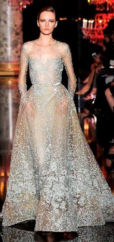 ELIE SAAB Couture Fall 2014 | partially see-through embellished gown | gray/silver