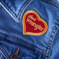 f307ad74 Love is Wrangler Patch. Pin And PatchesIron On PatchesVintage BrandingJean  ...