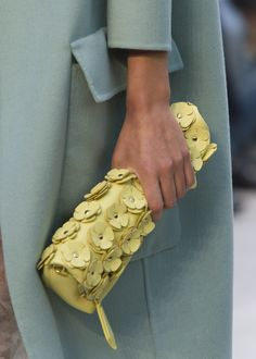The Petal with flower details in bright lemon. Handmade to order from Burberry.com until 30 September 2013
