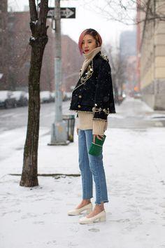 So Cool It Hurts: New York Fashion Week Fall 2016 Street Style - Irene Kim in Chanel jacket - February 2016