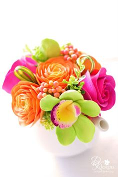 Such Gorgeous Colours ♥ Orange Ranunculus, Pink Roses and Green Cymbidium Orchids.