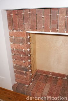 How to make a fake brick-look fireplace!