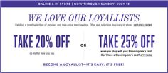 Take extra 20% off Ends 7/13/14 - Bloomingdale's