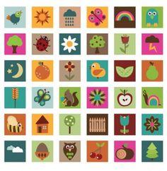 Nature art patchwork pattern vector set