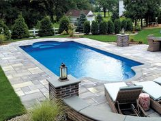 blue hawaiian fiberglass pools and spas custom - Roman Swimming Pool Designs
