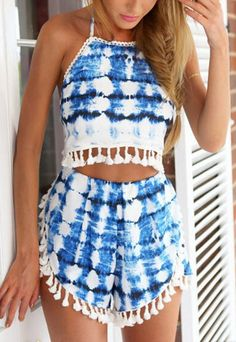 fed720135df Halter Florals Crop Top With Tassel Blue Shorts 16.33 I don't like the pom