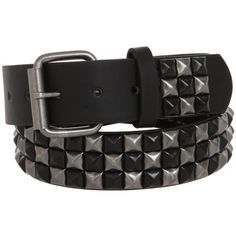 Black And Silver Burnished Checkered Pyramid Stud Belt | Hot Topic ($30)