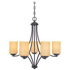 Designers Fountain Marbella Oil Rubbed Bronze Five-Light Chandelier with Satin Bisque Glass