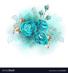 Three turquoise roses vector image on VectorStock Flower Frame, My Flower, Flower Art, Turquoise Bouquet, Photo Bleu, Old Paper Background, Decoupage Printables, Blue Nose Friends, Beautiful Flowers Wallpapers