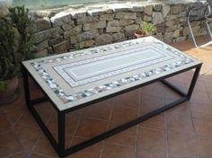 mesa de mosaico para jardin piedra fosil de ronda,azulejos,marmol artesanal en mosaico roma