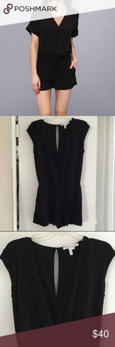 BCBG romper w pockets-like new BCBGeneration short sleeve black romper. Worn only once so like new! Has a snap closure so can either be worn closed up (like on first pic) or can be worn open w a bandeau underneath! Has pockets. BCBGMaxAzria Dresses