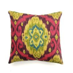 Green And Magenta Ikat Pillow  by The Divine Chair