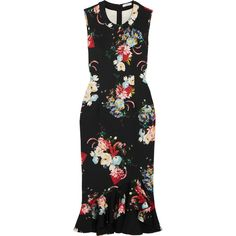 Erdem Louisa floral-print neoprene dress (£690) ❤ liked on Polyvore featuring dresses, erdem, louisa, neoprene, flounce hem dress, floral print dress, floral dresses, neoprene dress and ruffle hem dress