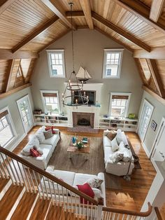 Possibly loft open to kitchen dining over bedroom half kitchen/dining & half master suite.Possibly loft open to kitchen dining over bedroom Future House, Barn Living, Home And Living, Living Area, Living Rooms, Barn House Plans, Barn Plans, Pole Barn Homes, Barn Style Homes