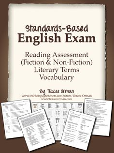 Common Core Reading and Vocabulary Assessment (priced) http://www.teacherspayteachers.com/Product/English-Exam-Reading-and-Vocabulary-Assessment