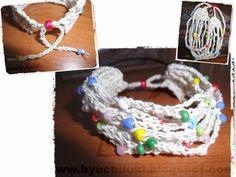 PRODUCCION PROPIA By Uchiloki: Summer Crochet Bracelet Realizada con la técnica de crochet en hilo de algodón con un 3% de lurex (aporta el color metálico) en color crudo y plata; abalorios de plástico de 4mm en varios colores. Medidas aproximadas largo entre 18cm-30cm, ancho 5cm. Más información y encargos en uchiloki@gmail.com