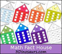Free Math Fact House - 3 Dinosaurs