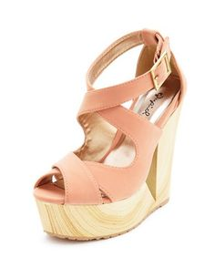 X-Front Cutout Wooden Wedge Sandal: Charlotte Russe