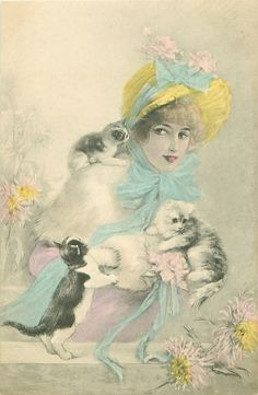 Victorian Lady with Kittens Postcard
