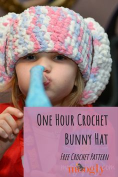 The One Hour Crochet Bunny Hat is perfect – for Easter, for Halloween, for dress-up… and for the very last minute! Made with super bulky Bernat Blanket yarn, you can whip these up in a flash! #eastercrochet #eastercrafts #oneskeincrochet #freecrochetpatterns #mooglyblog #yarnspirations One Skein Crochet, Easter Crochet, Crochet Bunny, Crochet Baby Hats, Crotchet, Free Crochet, Knitting For Kids, Crochet For Kids, Crochet Ideas