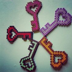 Heart Key Perler by SugaryPaws on Etsy 11x19