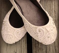 French Pleat  Bridal Ballet Flats Wedding Shoes  by BeholdenBridal, $125.00
