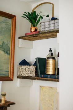 Small Bathroom Organization, Bathroom Styling, Bathroom Storage, Home Organization, Bathroom Ideas, Organizing, Bathroom Closet, Bathroom Designs, Wooden Bathroom Shelves