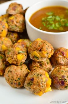 Slimming Eats Chicken and Mango Meatballs with a Spicy Mango Sauce gluten free