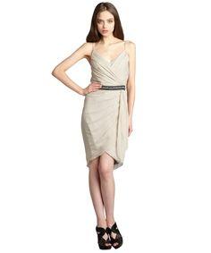 Vera Wang Lavender Label dove chiffon sleeveless drape dress