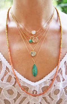 LAYERED NECKLACES via Fuji Files.