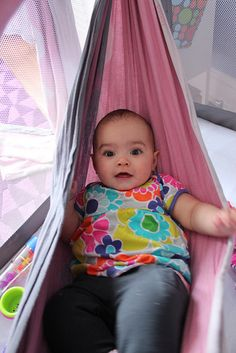 Hammock inside pack n play. Worth trying the next time around. - Day 261: woven wrap hammock by LesFab, via Flickr