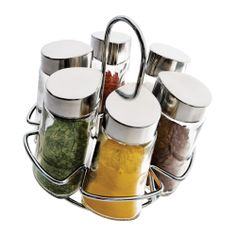 Porta Condimentos 6 Peças de Vidro com Suporte 80121 Euro Home