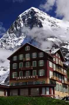 Hotel Bellevue des Alps with Eiger in the background, Switzerland