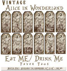 Alice In Wonderland Vintage Eat Me Drink Tea Party Favor Gift Tags