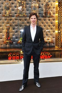 """Benedict Cumberbatch - Sparkly shoes??? wow <<< he means whenever I want I can wear my """" Edward's Skin """" shoes."""
