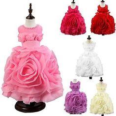 Elegant-Princess-3D-Flower-Girl-Kid-Beads-Dress-Birthday-Pageant-Formal-Wedding