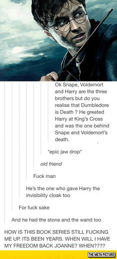 I knew Harry, Snape, and Voldemort mirrored the three brothers, but I never viewed Dumbledore as death! Harry Potter Love, Harry Potter Universal, Harry Potter Fandom, Harry Potter World, Harry Potter Memes, No Muggles, Fandoms, Superwholock, Libros