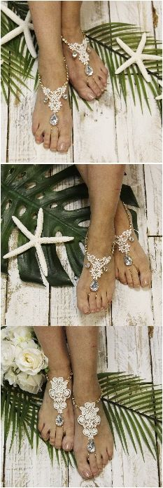 Wedding barefoot sandals, lace, rhinestones, bridal feet jewelry Handmade by Catherine Cole Studio LOVE IT <3 PIN FOR LATER!